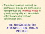 the strategies for attaining these goals include
