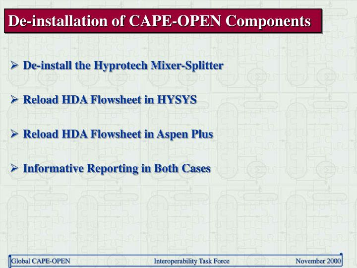 De-installation of CAPE-OPEN Components