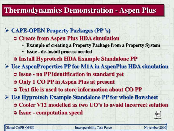 Thermodynamics Demonstration - Aspen Plus