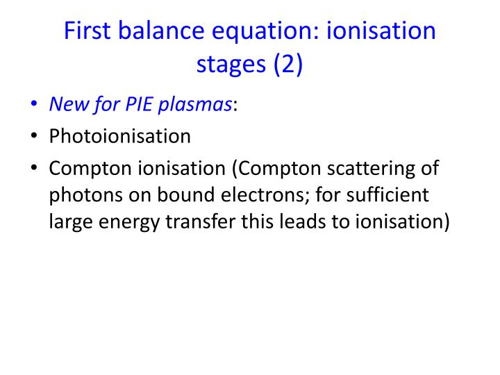 First balance equation:
