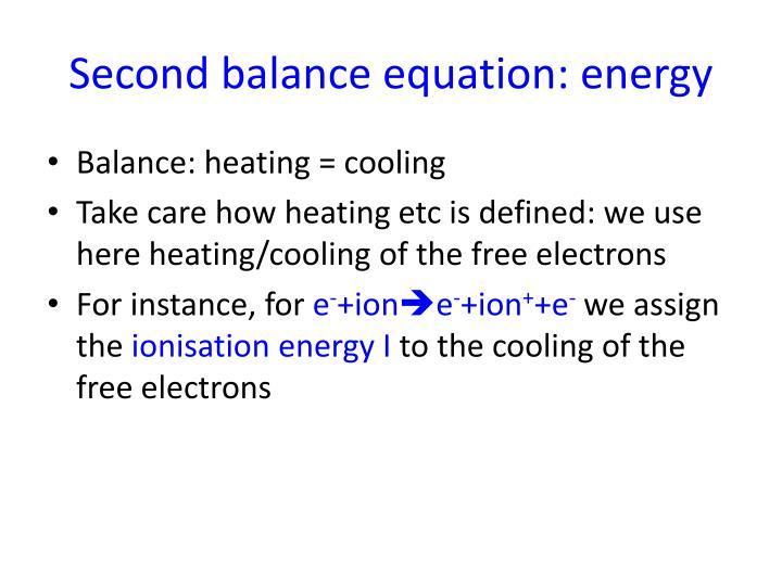 Second balance equation: energy