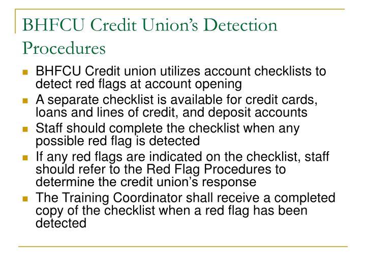 BHFCU Credit Union's Detection Procedures