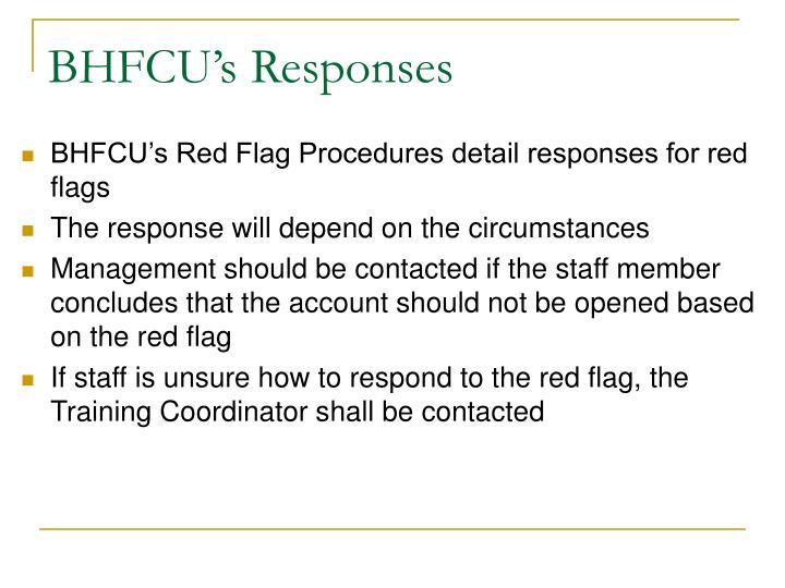 BHFCU's Responses
