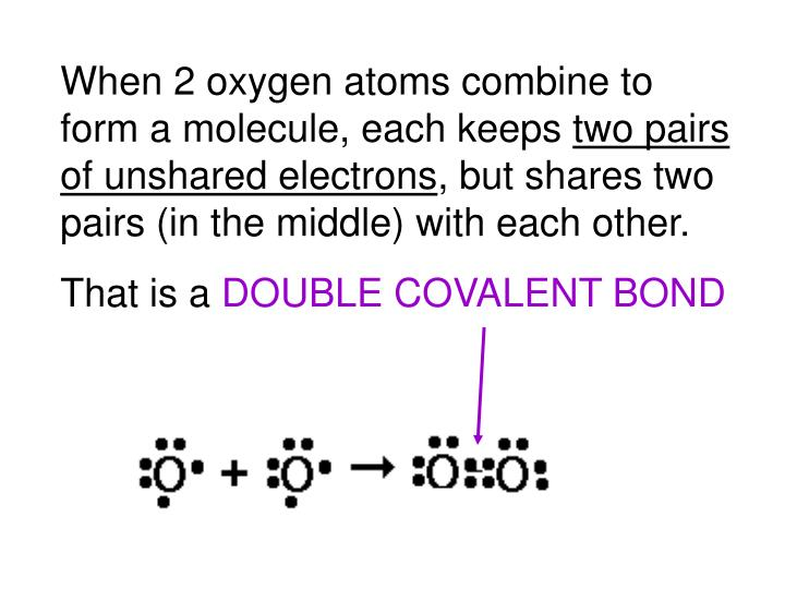 When 2 oxygen atoms combine to form a molecule, each keeps