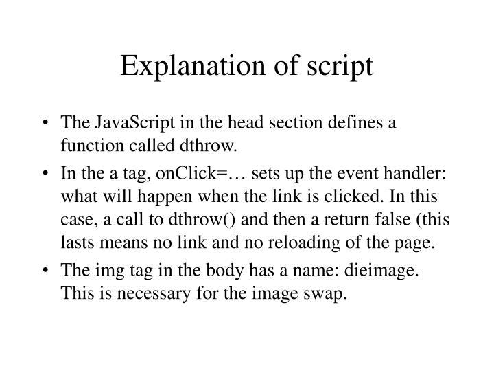 Explanation of script