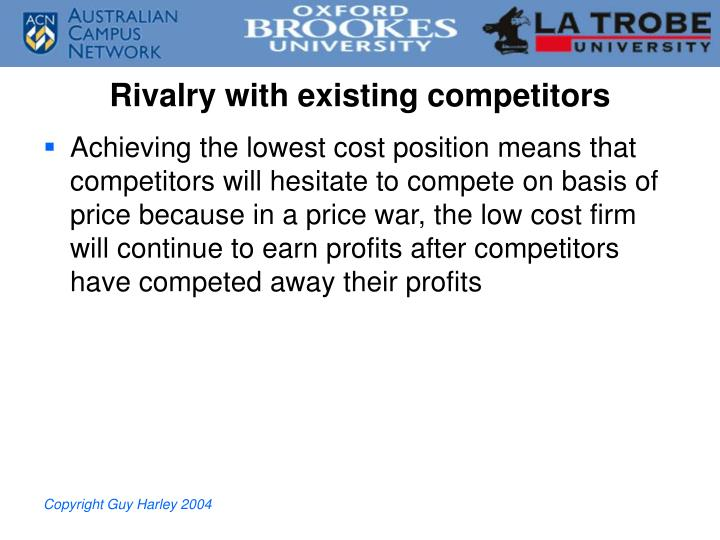 Rivalry with existing competitors