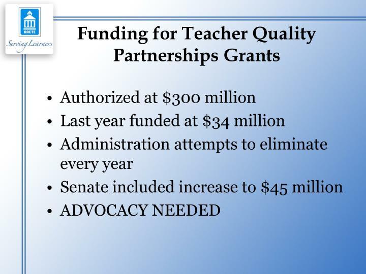 Funding for Teacher Quality Partnerships Grants