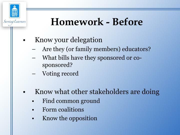 Homework - Before
