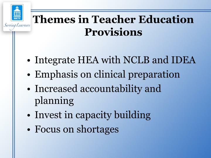 Themes in Teacher Education Provisions