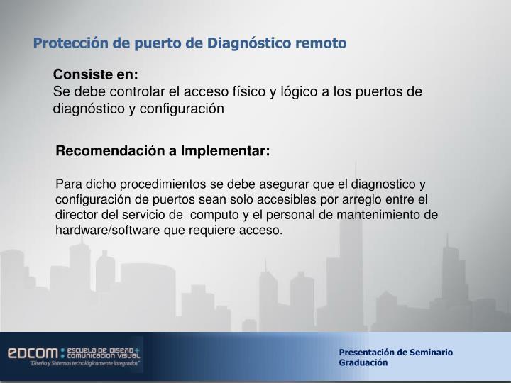 Protección de puerto de Diagnóstico remoto