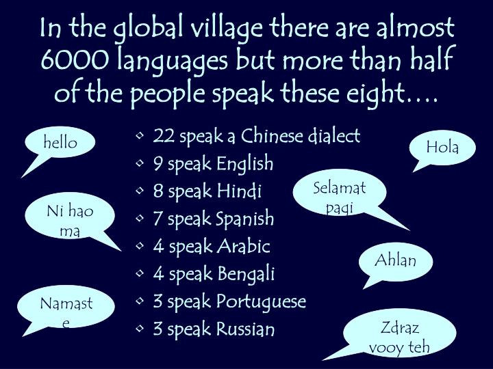 In the global village there are almost 6000 languages but more than half of the people speak these eight….