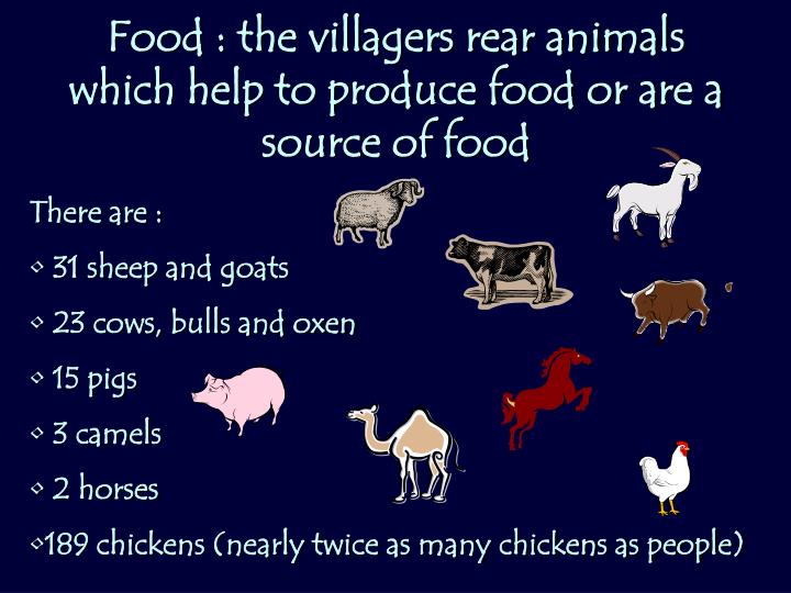Food : the villagers rear animals which help to produce food or are a source of food