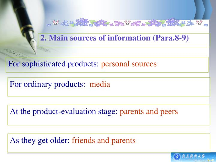 2. Main sources of information