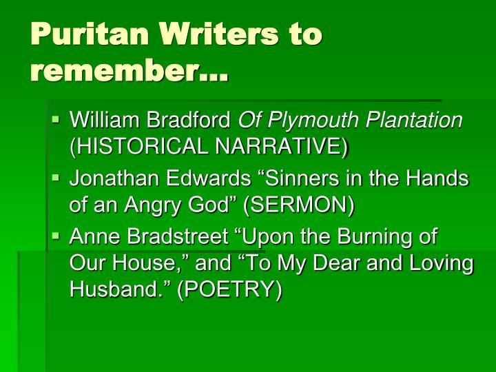 Puritan Writers to remember…
