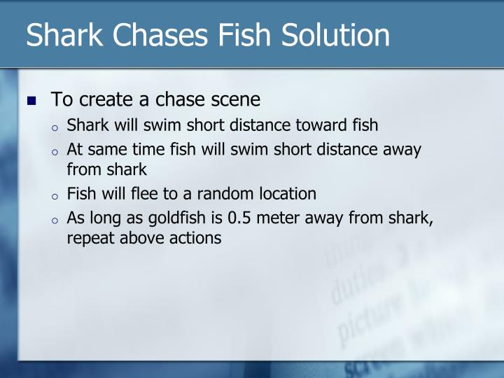 Shark Chases Fish Solution