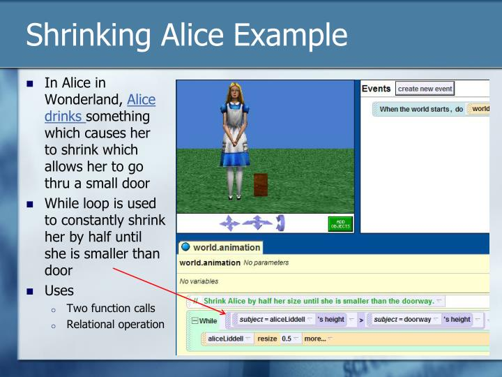 Shrinking Alice Example
