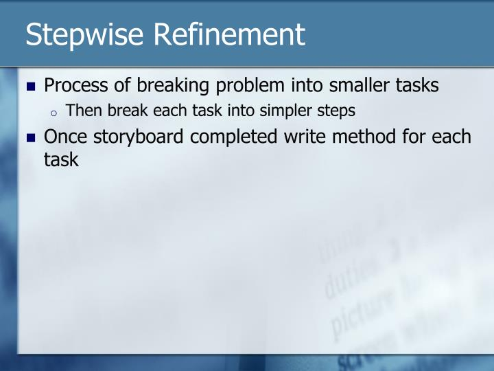 Stepwise Refinement