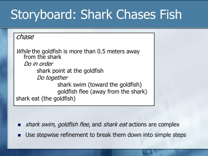 Storyboard: Shark Chases Fish