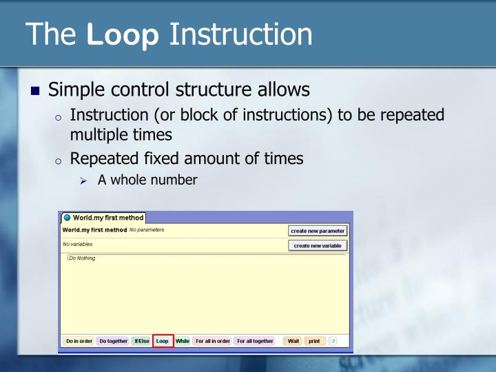 The loop instruction