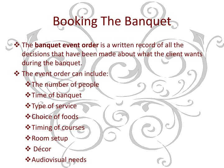 Booking The Banquet