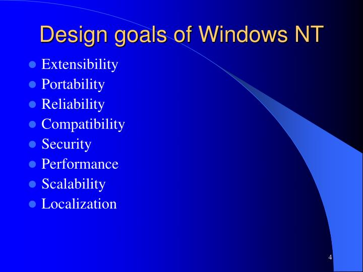 Design goals of Windows NT