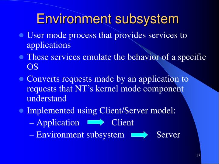Environment subsystem