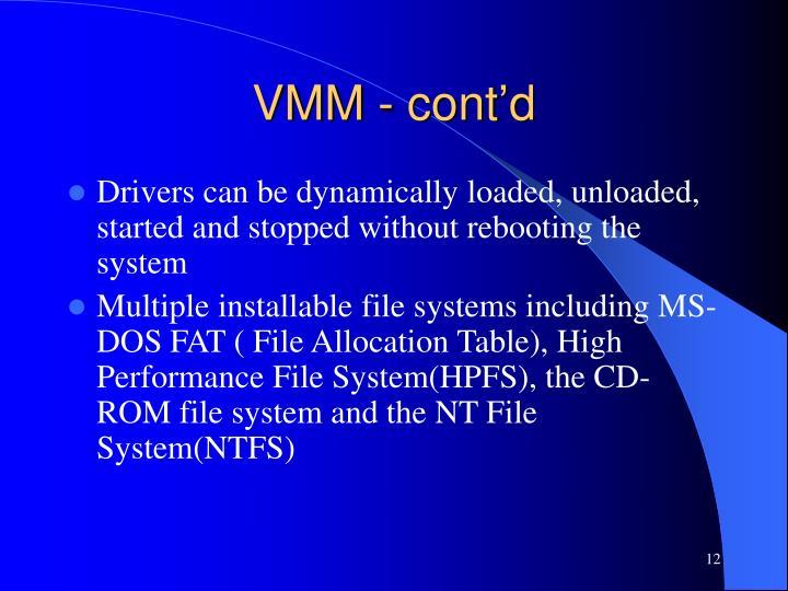 VMM - cont'd