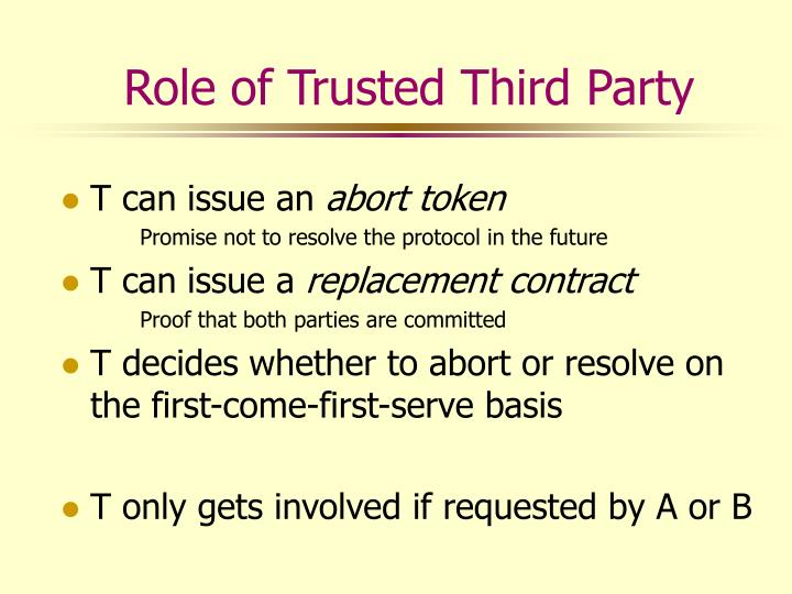 Role of Trusted Third Party