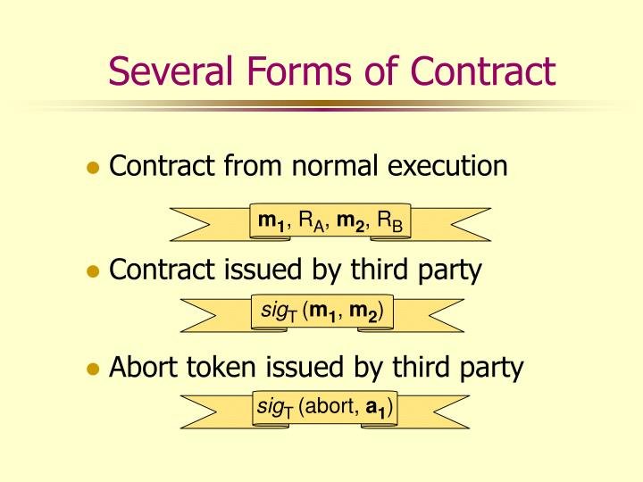 Several Forms of Contract