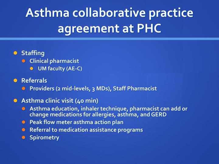 Asthma collaborative practice agreement at PHC