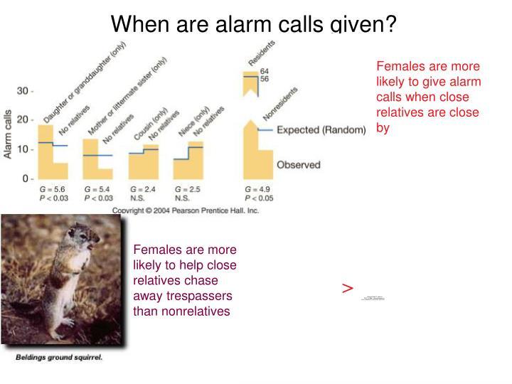 When are alarm calls given?