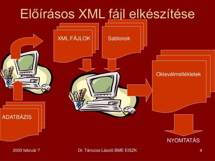 Előírásos XML fájl elkészítése