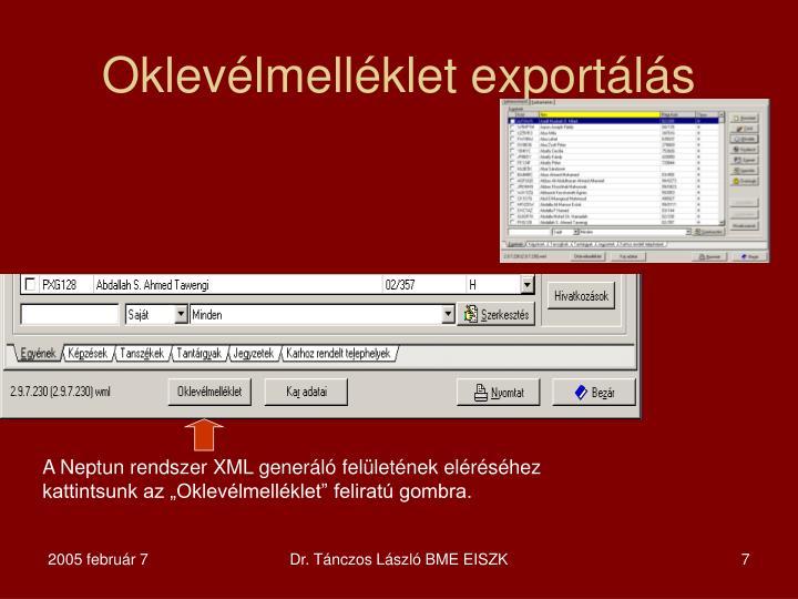 Oklevélmelléklet exportálás
