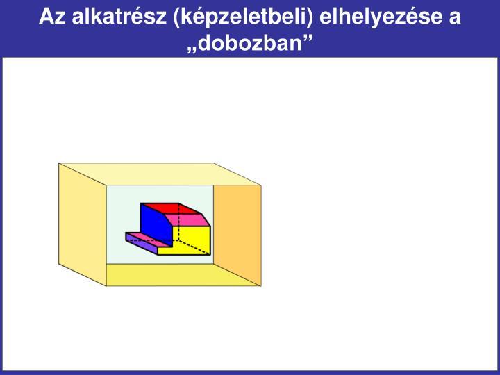 """Az alkatrész (képzeletbeli) elhelyezése a """"dobozban"""""""