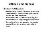 setting up the big bang