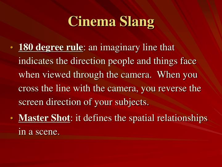 Cinema Slang