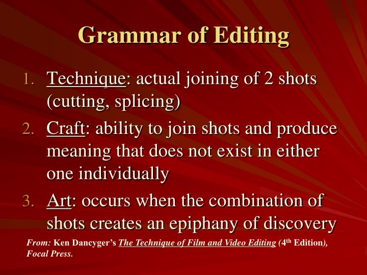 Grammar of Editing