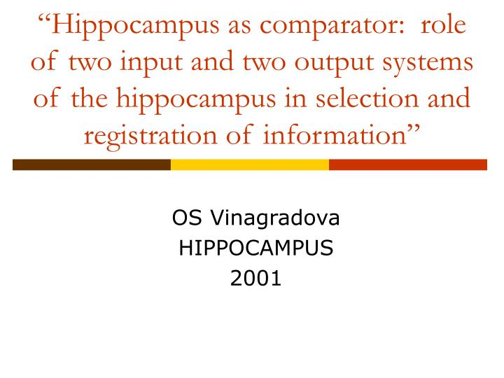 """Hippocampus as comparator:  role of two input and two output systems of the hippocampus in selection and registration of information"""