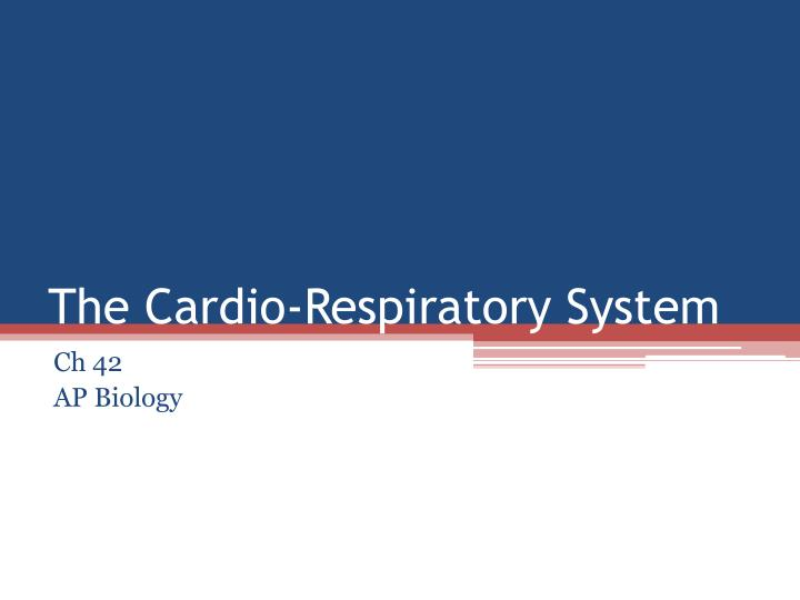 The cardio respiratory system