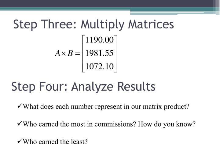 Step Three: Multiply Matrices