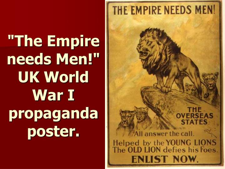 """The Empire needs Men!"" UK World War I propaganda poster."
