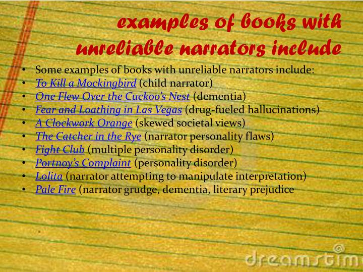 examples of books with unreliable narrators include