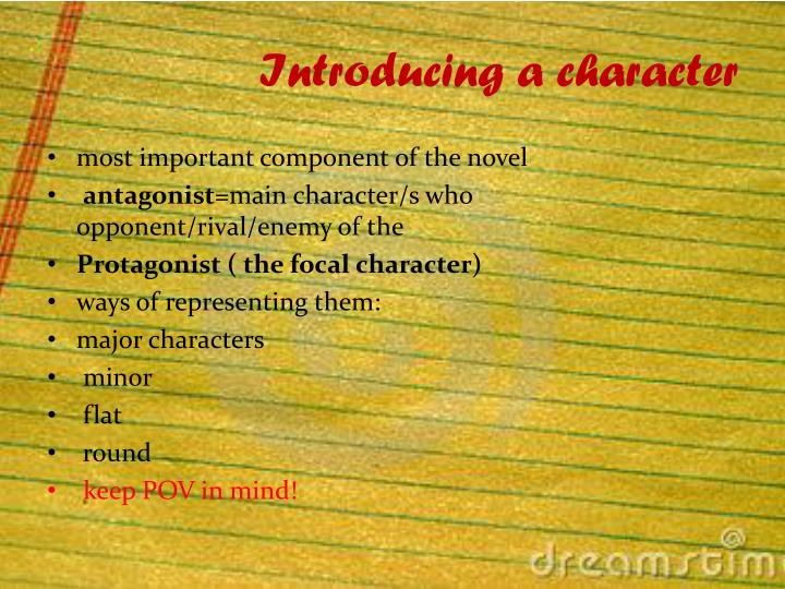 Introducing a character