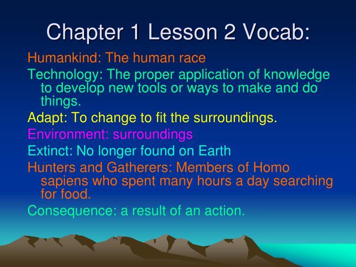 Chapter 1 Lesson 2 Vocab: