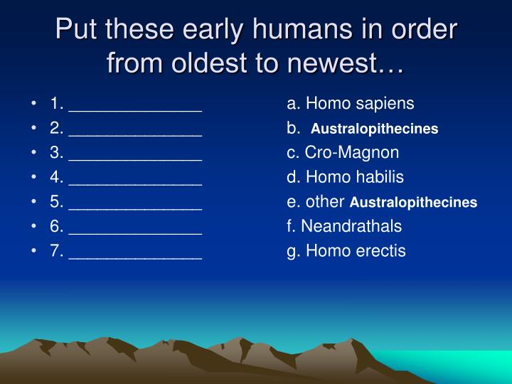 Put these early humans in order from oldest to newest…