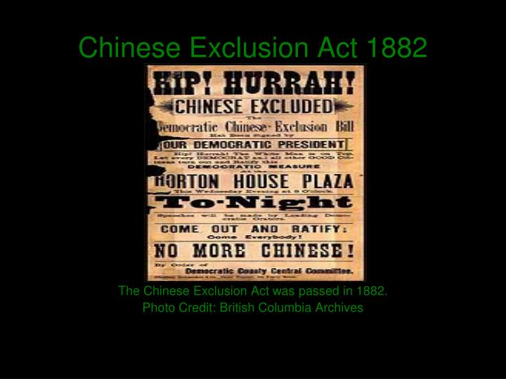 chinese exclusion act 1882 essay Explore the history and significance of the 1882 chinese exclusion act, and test your understanding on american politics, racism, and the origins.