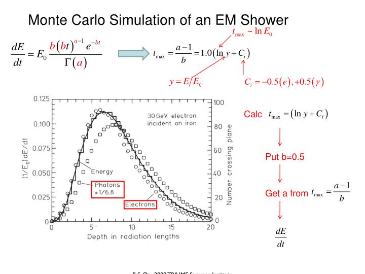 Monte Carlo Simulation of an EM Shower