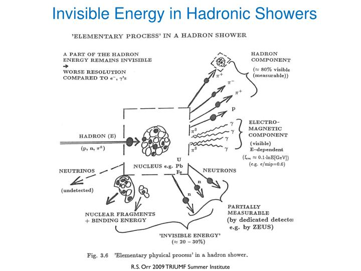 Invisible Energy in Hadronic Showers