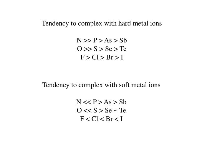 Tendency to complex with hard metal ions