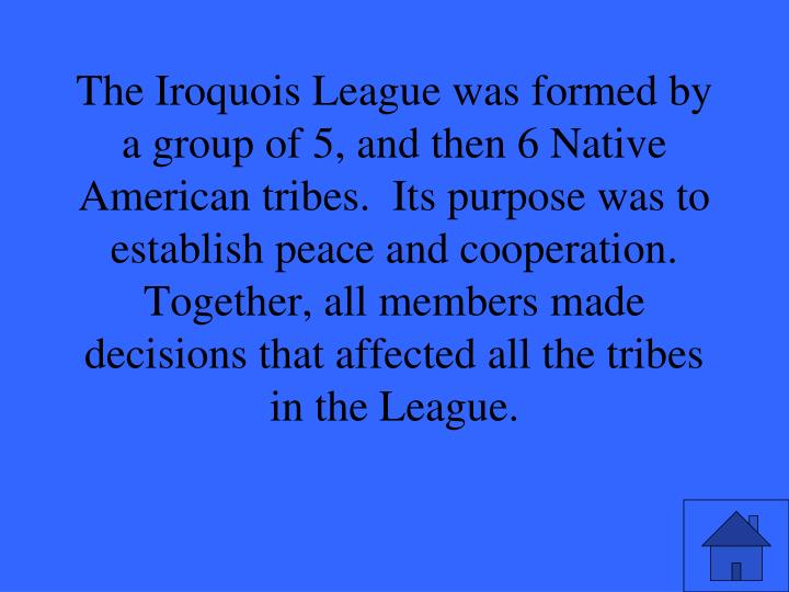 The Iroquois League was formed by a group of 5, and then 6 Native American tribes.  Its purpose was to establish peace and cooperation.  Together, all members made decisions that affected all the tribes in the League.